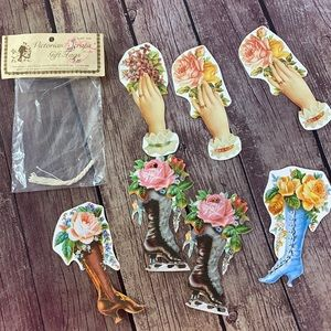 VTG Victorian Gift Tags Set of 7 Boots Floral